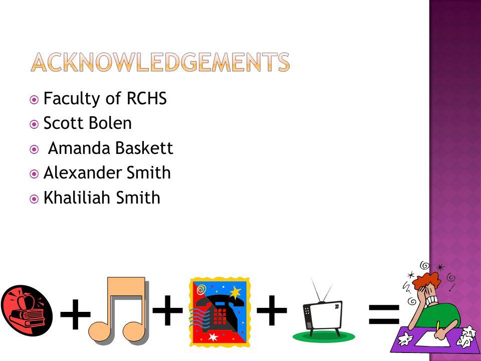  Faculty of RCHS  Scott Bolen  Amanda Baskett  Alexander Smith  Khaliliah Smith + ++ =