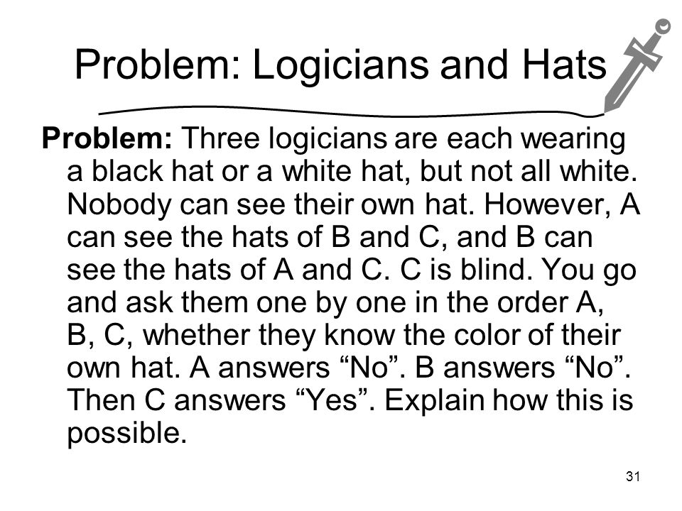 Problem: Logicians and Hats Problem: Three logicians are each wearing a black hat or a white hat, but not all white.