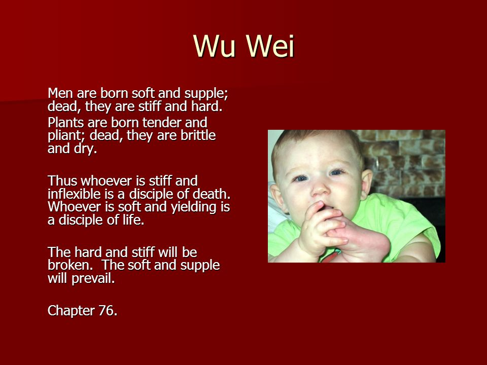 Wu Wei Men are born soft and supple; dead, they are stiff and hard.