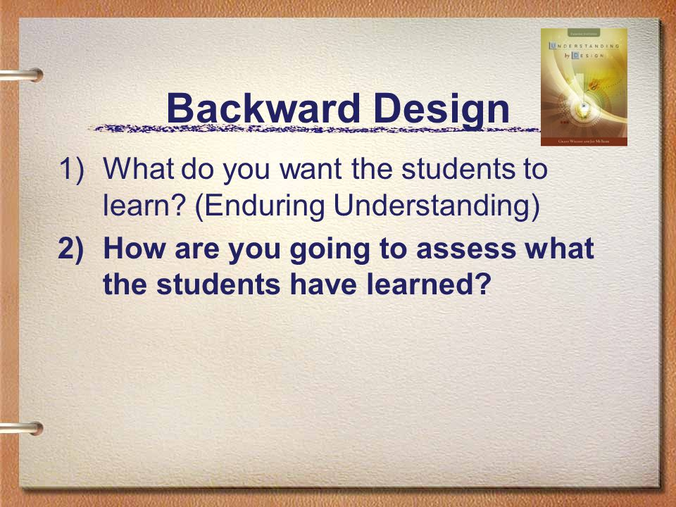 Backward Design 1)What do you want the students to learn.