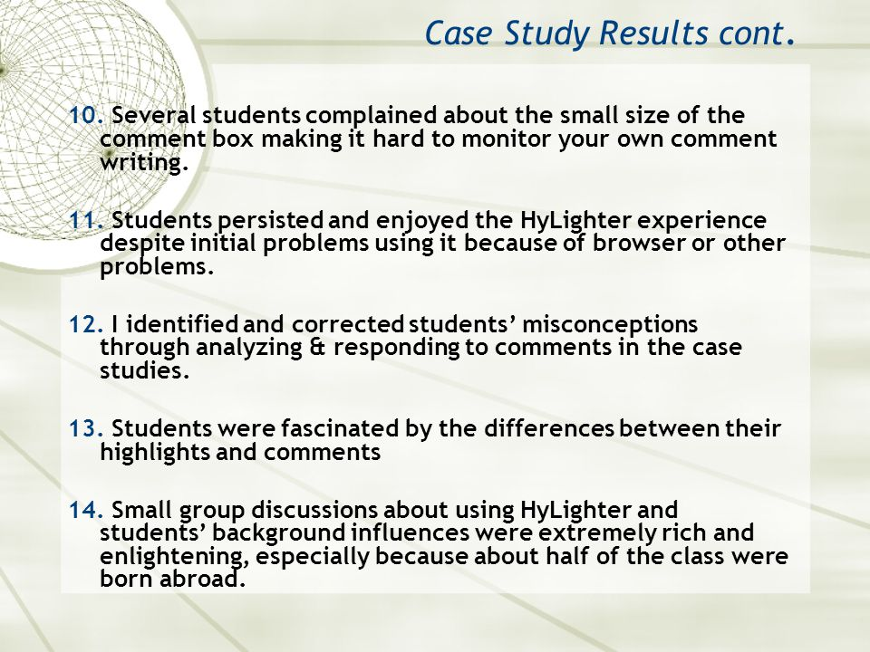 Case Study Results cont. 10.