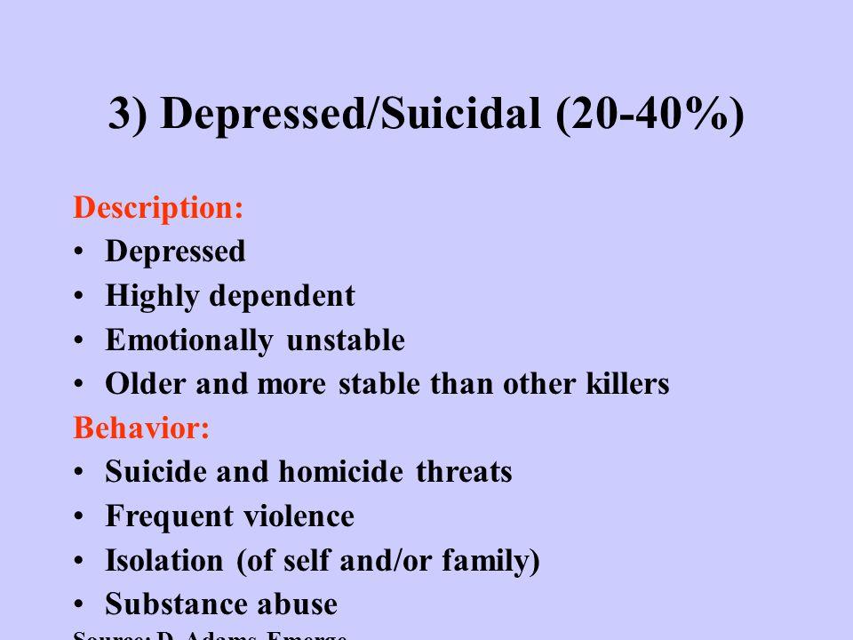 3) Depressed/Suicidal (20-40%) Description: Depressed Highly dependent Emotionally unstable Older and more stable than other killers Behavior: Suicide
