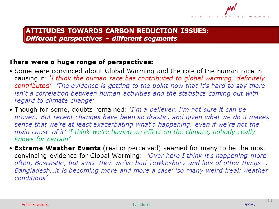 There were a huge range of perspectives: Some were convinced about Global Warming and the role of the human race in causing it: 'I think the human race has contributed to global warming, definitely contributed' 'The evidence is getting to the point now that it s hard to say there isn t a correlation between human activities and the statistics coming out with regard to climate change' Though for some, doubts remained: 'I m a believer.