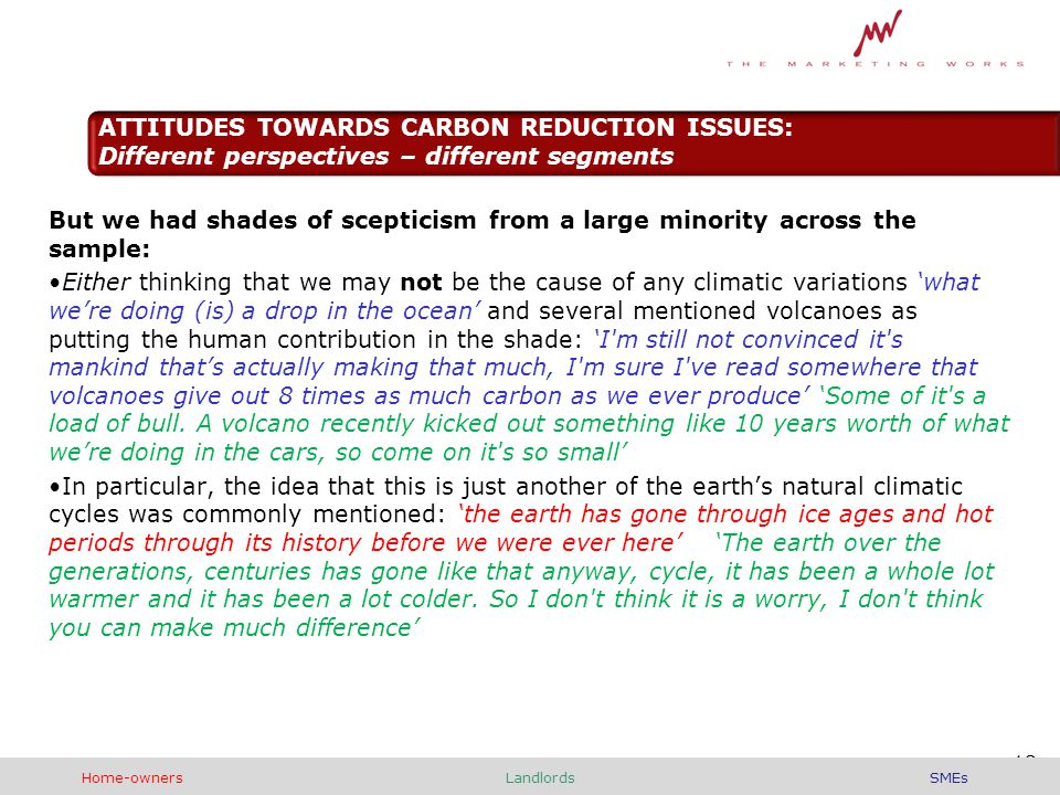 But we had shades of scepticism from a large minority across the sample: Either thinking that we may not be the cause of any climatic variations 'what we're doing (is) a drop in the ocean' and several mentioned volcanoes as putting the human contribution in the shade: 'I m still not convinced it s mankind that's actually making that much, I m sure I ve read somewhere that volcanoes give out 8 times as much carbon as we ever produce' 'Some of it s a load of bull.