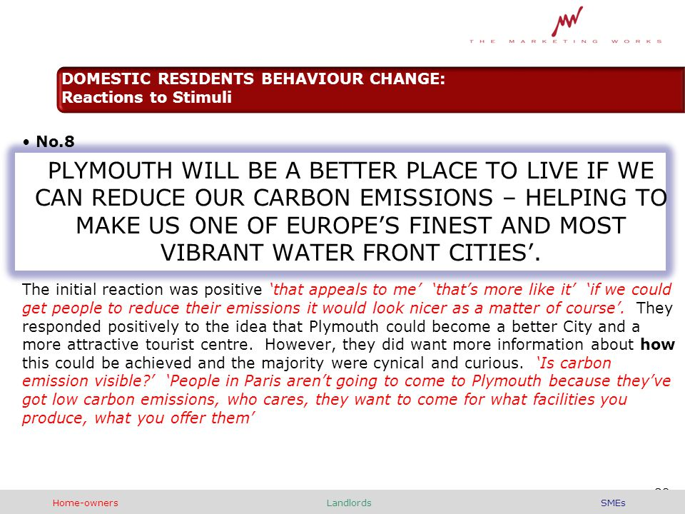 No.8 PLYMOUTH WILL BE A BETTER PLACE TO LIVE IF WE CAN REDUCE OUR CARBON EMISSIONS – HELPING TO MAKE US ONE OF EUROPE'S FINEST AND MOST VIBRANT WATER