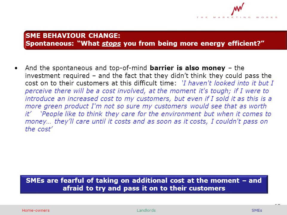 And the spontaneous and top-of-mind barrier is also money – the investment required – and the fact that they didn't think they could pass the cost on to their customers at this difficult time: 'I haven t looked into it but I perceive there will be a cost involved, at the moment it s tough; if I were to introduce an increased cost to my customers, but even if I sold it as this is a more green product I m not so sure my customers would see that as worth it' 'People like to think they care for the environment but when it comes to money… they'll care until it costs and as soon as it costs, I couldn t pass on the cost' SMEs are fearful of taking on additional cost at the moment – and afraid to try and pass it on to their customers 68 SME BEHAVIOUR CHANGE: Spontaneous: What stops you from being more energy efficient Home-ownersLandlordsSMEs