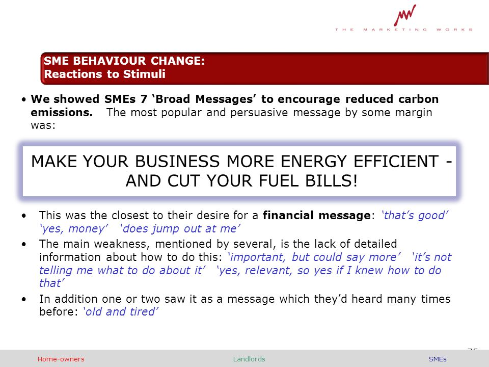We showed SMEs 7 'Broad Messages' to encourage reduced carbon emissions.