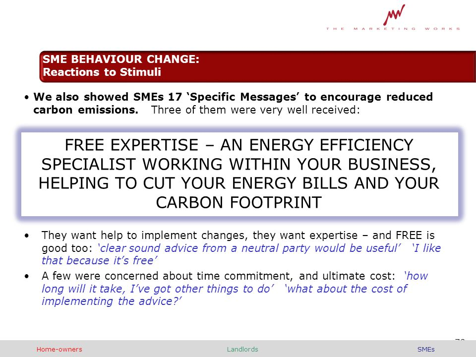 We also showed SMEs 17 'Specific Messages' to encourage reduced carbon emissions.