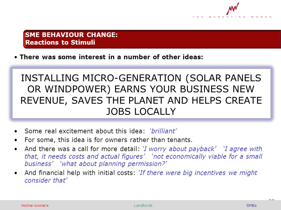There was some interest in a number of other ideas: INSTALLING MICRO-GENERATION (SOLAR PANELS OR WINDPOWER) EARNS YOUR BUSINESS NEW REVENUE, SAVES THE PLANET AND HELPS CREATE JOBS LOCALLY Some real excitement about this idea: 'brilliant' For some, this idea is for owners rather than tenants.