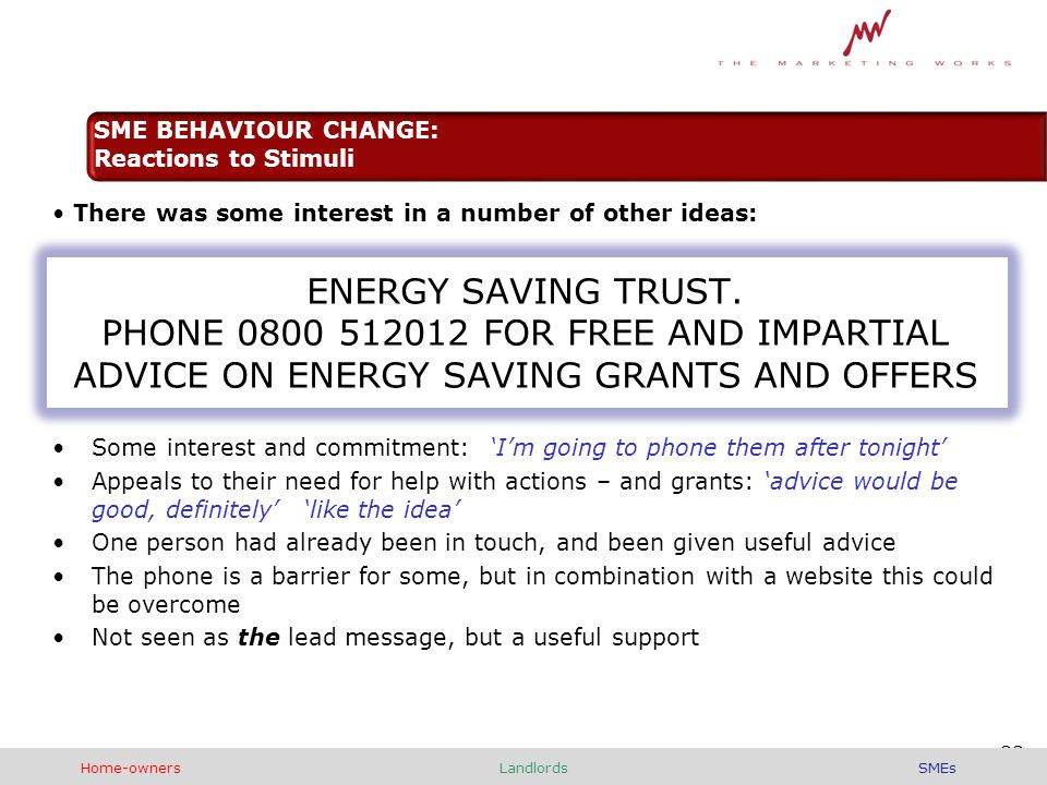 There was some interest in a number of other ideas: ENERGY SAVING TRUST.