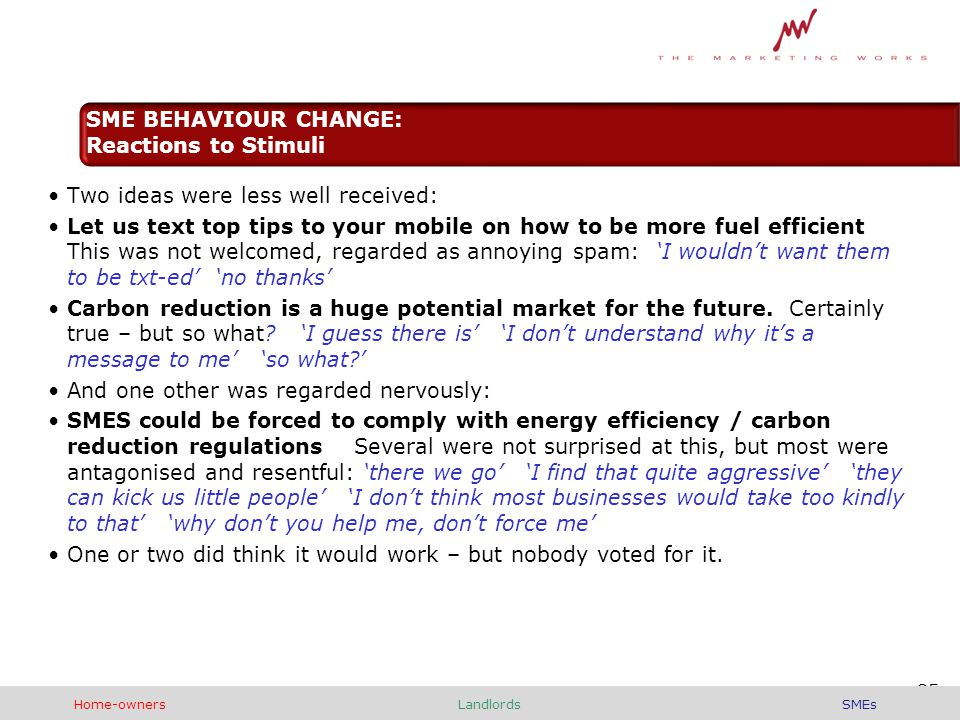 Two ideas were less well received: Let us text top tips to your mobile on how to be more fuel efficient This was not welcomed, regarded as annoying spam: 'I wouldn't want them to be txt-ed' 'no thanks' Carbon reduction is a huge potential market for the future.