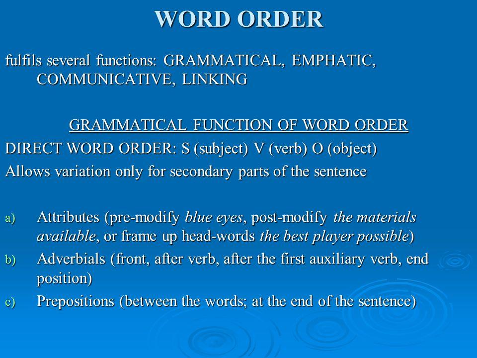 WORD ORDER INVERTED WORD ORDER FULL INVERTION e.g.