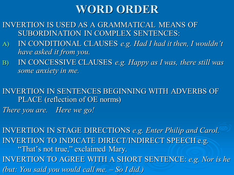 WORD ORDER EMPHATIC AND COMMUNICATIVE FUNCTIONS OF WORD ORDER These two functions are different in their purpose, but often either go together or overlap, and are difficult to differentiate.