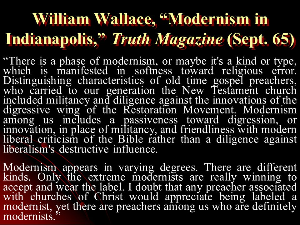 William Wallace, Modernism in Indianapolis, Truth Magazine (Sept.