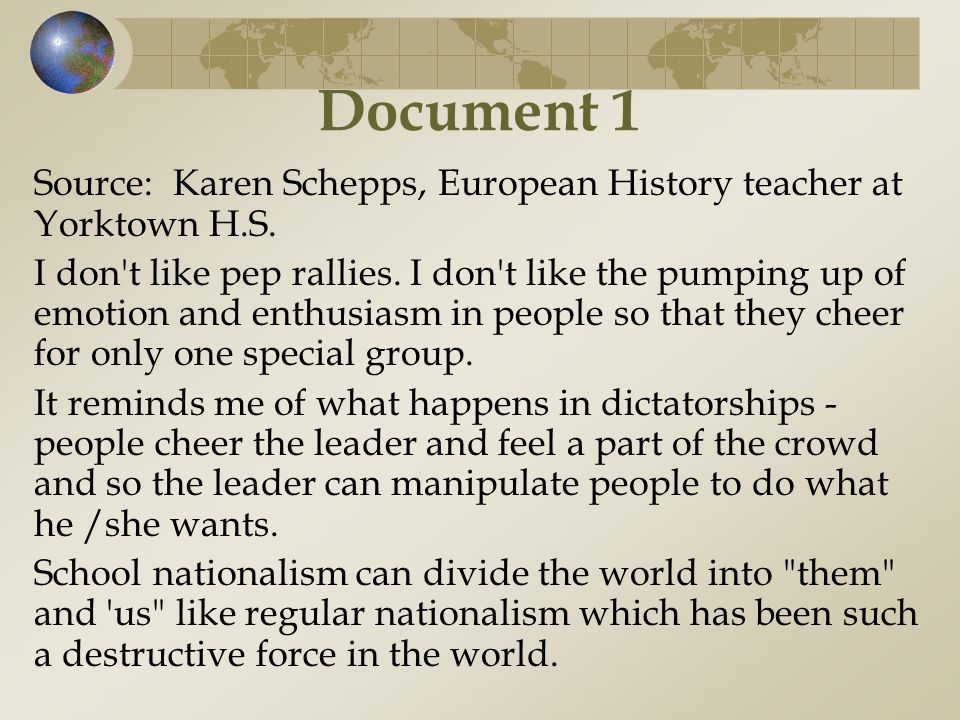 Document 1 Source: Karen Schepps, European History teacher at Yorktown H.S.