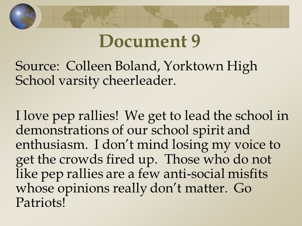 Document 9 Source: Colleen Boland, Yorktown High School varsity cheerleader.