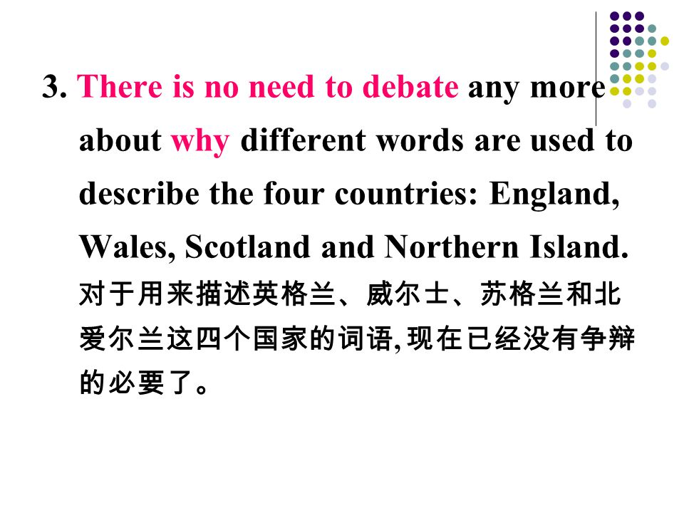 3. There is no need to debate any more about why different words are used to describe the four countries: England, Wales, Scotland and Northern Island