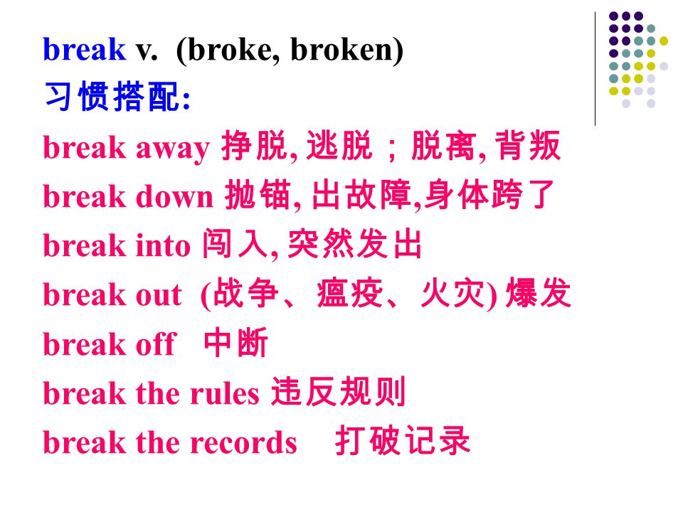 break v. (broke, broken) 习惯搭配 : break away 挣脱, 逃脱;脱离, 背叛 break down 抛锚, 出故障, 身体跨了 break into 闯入, 突然发出 break out ( 战争、瘟疫、火灾 ) 爆发 break off 中断 break the