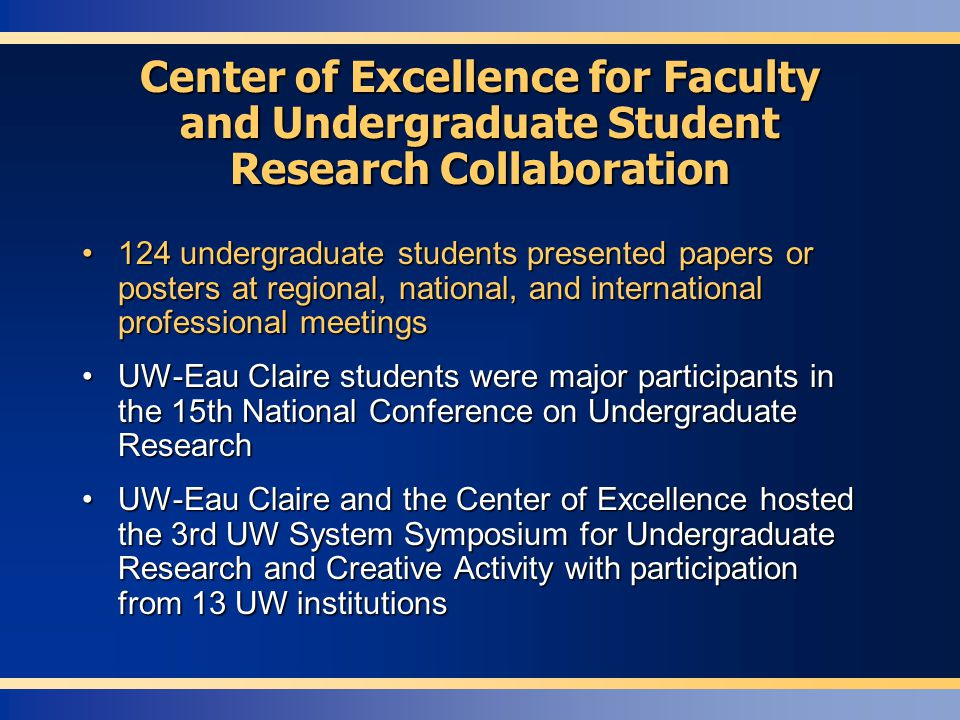 124 undergraduate students presented papers or posters at regional, national, and international professional meetings124 undergraduate students presen