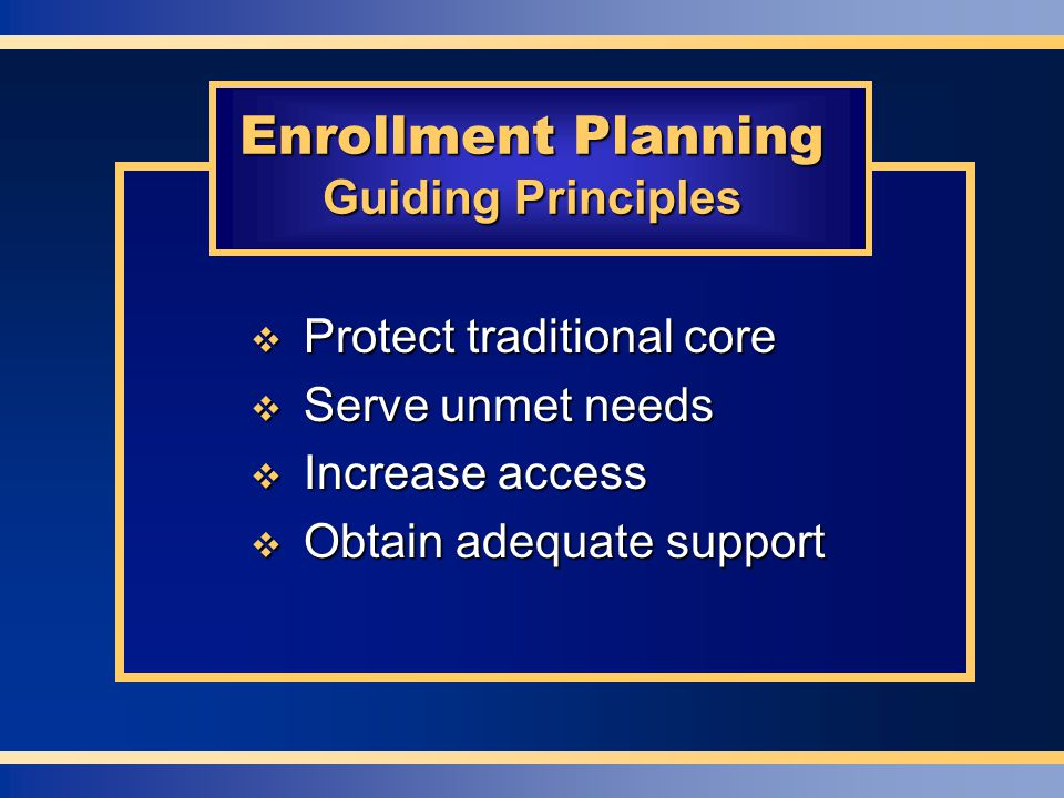  Protect traditional core  Serve unmet needs  Increase access  Obtain adequate support Enrollment Planning Guiding Principles