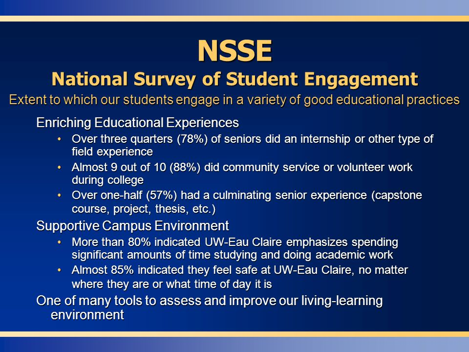 NSSE National Survey of Student Engagement Enriching Educational Experiences Over three quarters (78%) of seniors did an internship or other type of field experienceOver three quarters (78%) of seniors did an internship or other type of field experience Almost 9 out of 10 (88%) did community service or volunteer work during collegeAlmost 9 out of 10 (88%) did community service or volunteer work during college Over one-half (57%) had a culminating senior experience (capstone course, project, thesis, etc.)Over one-half (57%) had a culminating senior experience (capstone course, project, thesis, etc.) Supportive Campus Environment More than 80% indicated UW-Eau Claire emphasizes spending significant amounts of time studying and doing academic workMore than 80% indicated UW-Eau Claire emphasizes spending significant amounts of time studying and doing academic work Almost 85% indicated they feel safe at UW-Eau Claire, no matter where they are or what time of day it isAlmost 85% indicated they feel safe at UW-Eau Claire, no matter where they are or what time of day it is One of many tools to assess and improve our living-learning environment Extent to which our students engage in a variety of good educational practices