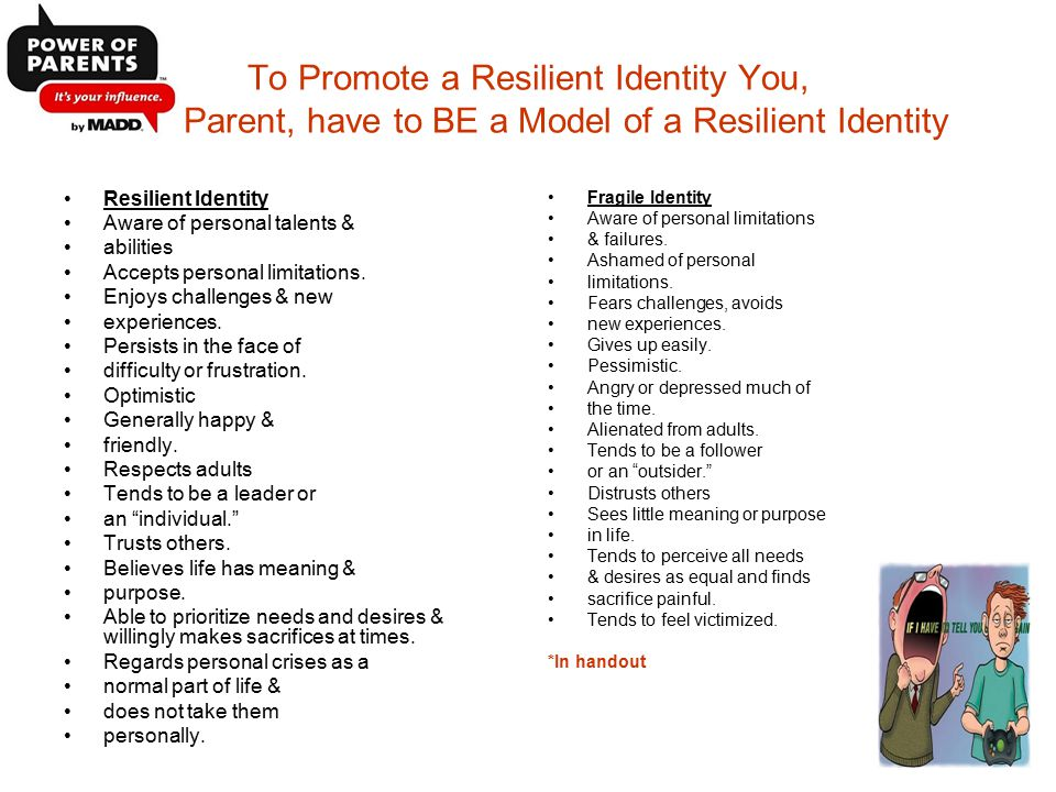 To Promote a Resilient Identity You, as a Parent, have to BE a Model of a Resilient Identity Resilient Identity Aware of personal talents & abilities Accepts personal limitations.