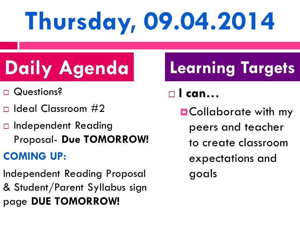 Thursday, 09.04.2014  Questions?  Ideal Classroom #2  Independent Reading Proposal- Due TOMORROW! COMING UP: Independent Reading Proposal & Student