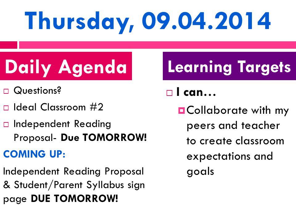 Thursday, 09.04.2014  Questions.