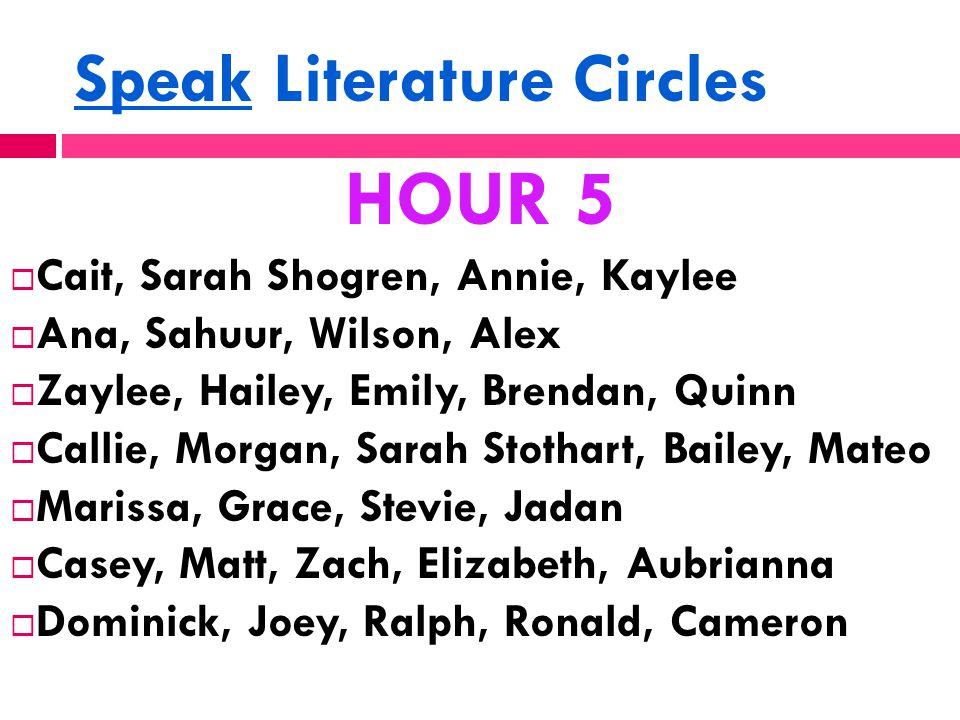 Speak Literature Circles HOUR 5  Cait, Sarah Shogren, Annie, Kaylee  Ana, Sahuur, Wilson, Alex  Zaylee, Hailey, Emily, Brendan, Quinn  Callie, Mor
