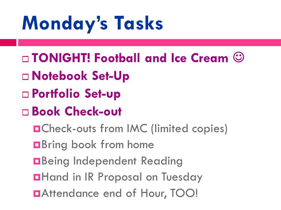 Monday, 10.13.2014  Make-Up Day  Marigold's Revisions (EVERYONE)  Make-Up Work or Independent Reading COMING UP: Independent Reading I can…  Identify the Elements of Fiction and apply them to various pieces of literature Daily Agenda Learning Targets