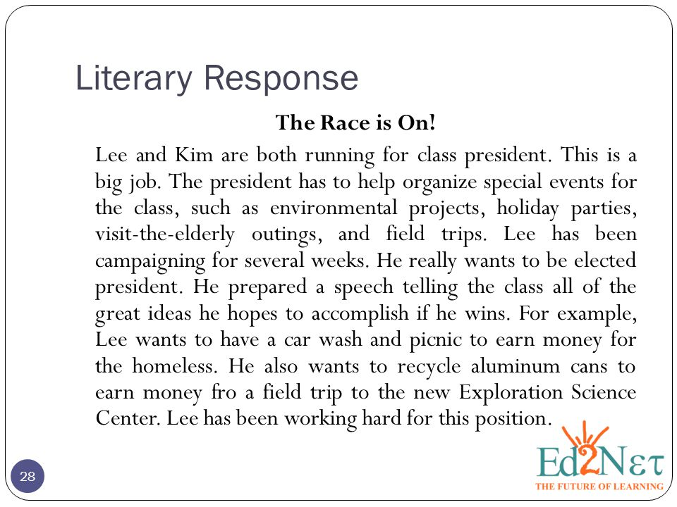 Literary Response The Race is On! Lee and Kim are both running for class president. This is a big job. The president has to help organize special even
