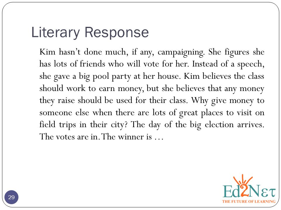 Literary Response Kim hasn't done much, if any, campaigning. She figures she has lots of friends who will vote for her. Instead of a speech, she gave