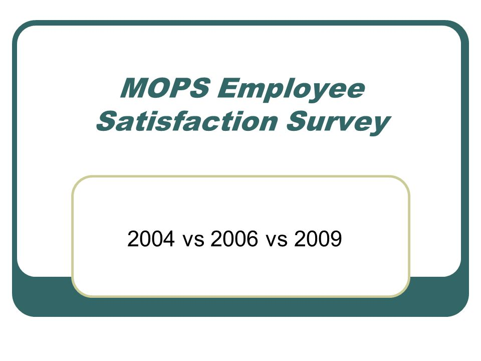MOPS Employee Satisfaction Survey 2004 vs 2006 vs 2009