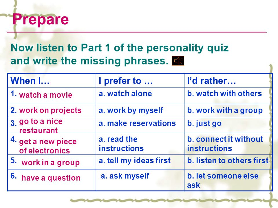 Prepare When I…I prefer to …I'd rather… 1.a. watch aloneb. watch with others 2.a. work by myselfb. work with a group 3.a. make reservationsb. just go