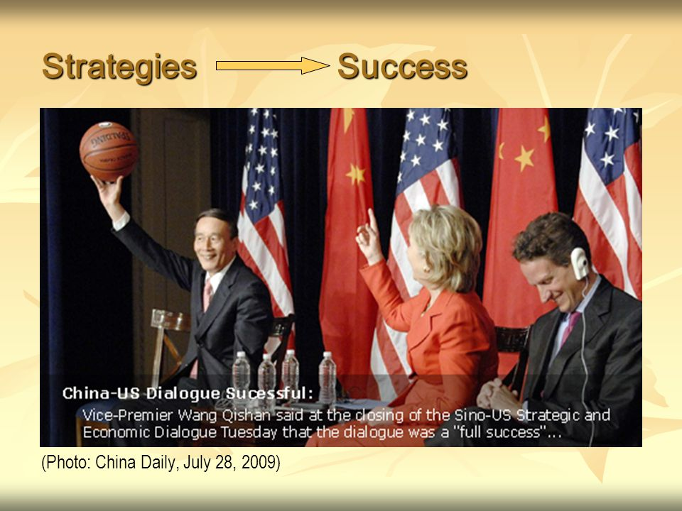 Strategies Success (Photo: China Daily, July 28, 2009)