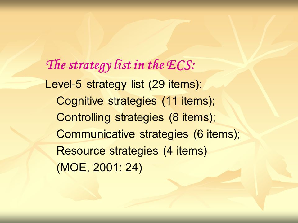 The strategy list in the ECS: Level-5 strategy list (29 items): Cognitive strategies (11 items); Controlling strategies (8 items); Communicative strategies (6 items); Resource strategies (4 items) (MOE, 2001: 24)