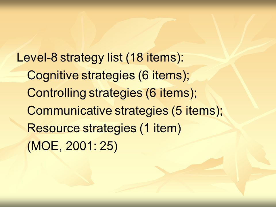 Level-8 strategy list (18 items): Cognitive strategies (6 items); Controlling strategies (6 items); Communicative strategies (5 items); Resource strategies (1 item) (MOE, 2001: 25)