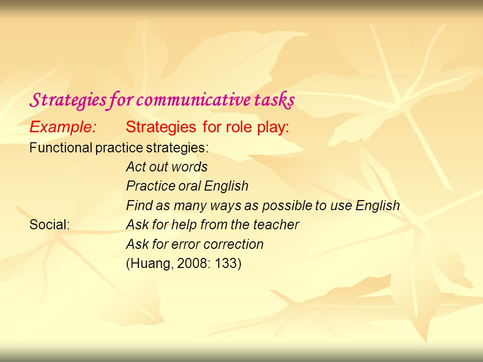 Strategies for communicative tasks Example: Strategies for role play: Functional practice strategies: Act out words Practice oral English Find as many ways as possible to use English Social:Ask for help from the teacher Ask for error correction (Huang, 2008: 133)