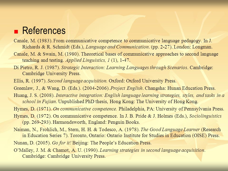 References Canale, M. (1983). From communicative competence to communicative language pedagogy. In J. Richards & R. Schmidt (Eds.), Language and Commu
