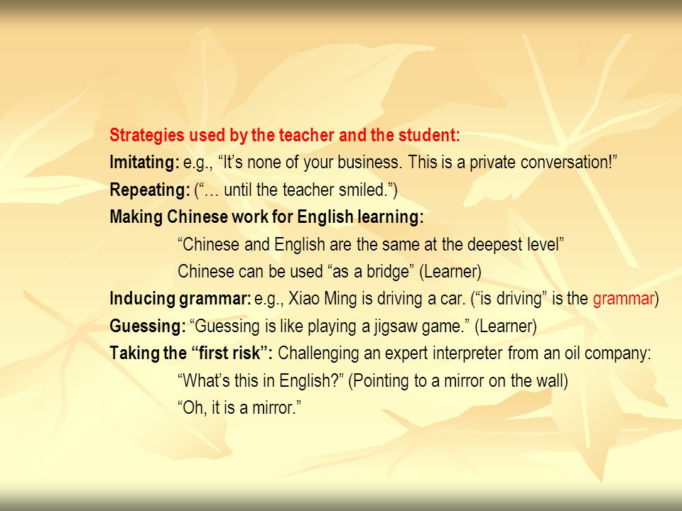 """Strategies used by the teacher and the student: Imitating: e.g., """"It's none of your business. This is a private conversation!"""" Repeating: (""""… until th"""