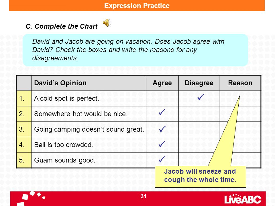 31 David's OpinionAgreeDisagreeReason 1.A cold spot is perfect. 2.Somewhere hot would be nice. 3.Going camping doesn't sound great. 4.Bali is too crow