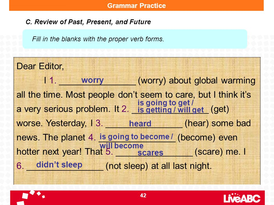 42 Grammar Practice C. Review of Past, Present, and Future Fill in the blanks with the proper verb forms. Dear Editor, I 1. _______________ (worry) ab