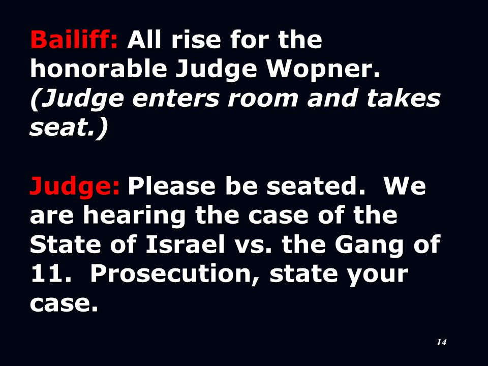 14 Bailiff:All rise for the honorable Judge Wopner.