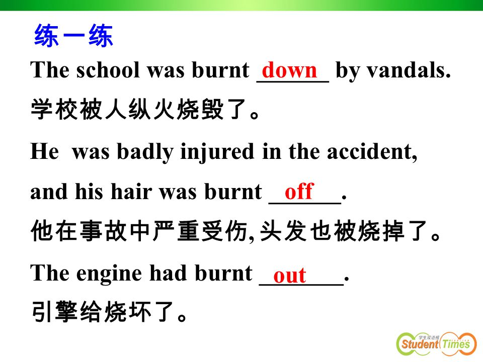 短语联想 : burn away 烧掉 burn down ( 建筑物 ) 烧毁 burn off 烧掉 burn out 烧坏 burn up 烧毁, 燃得更亮 / 旺 The wood had burnt away to nothing.
