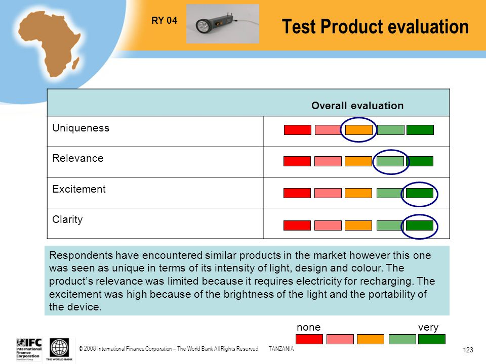 © 2008 International Finance Corporation – The World Bank All Rights ReservedTANZANIA 123 Overall evaluation Uniqueness Relevance Excitement Clarity R