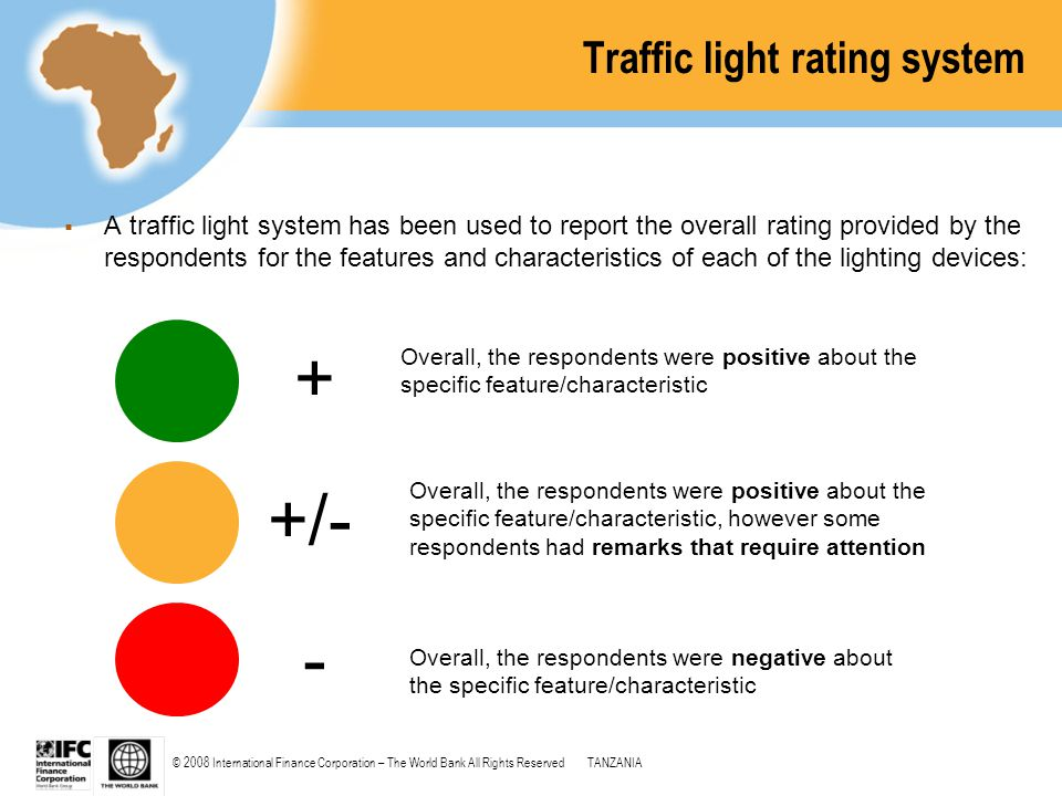 © 2008 International Finance Corporation – The World Bank All Rights ReservedTANZANIA Traffic light rating system  A traffic light system has been us