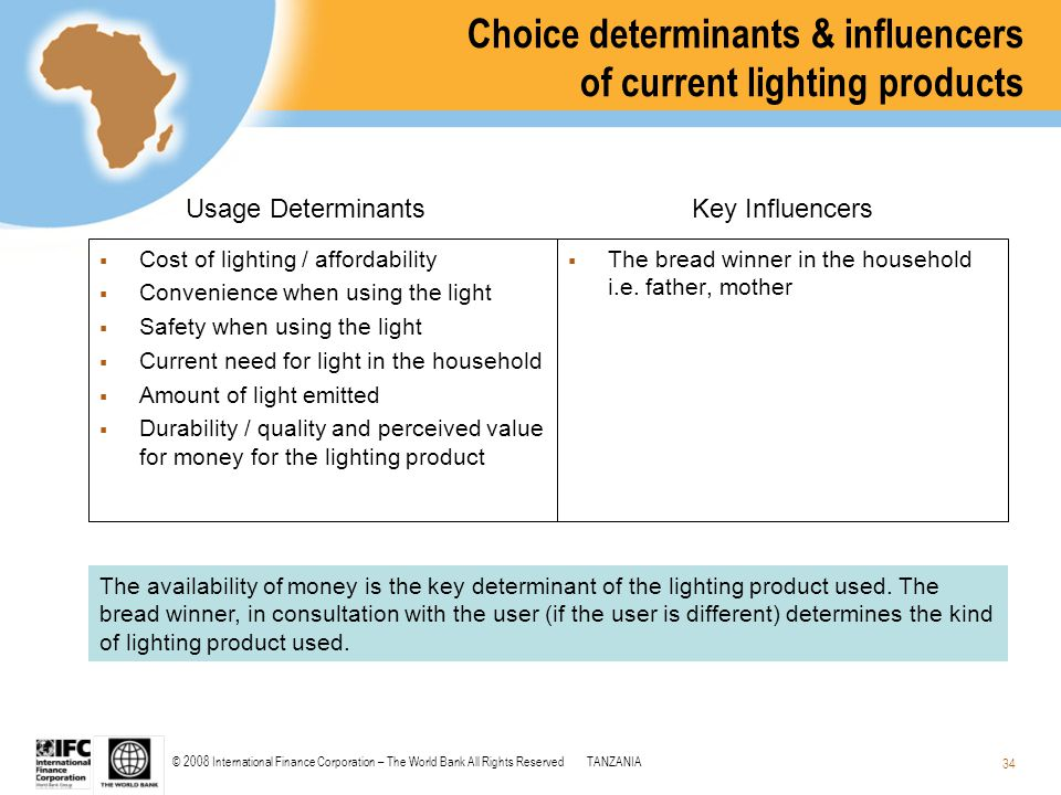 © 2008 International Finance Corporation – The World Bank All Rights ReservedTANZANIA 34 Choice determinants & influencers of current lighting product