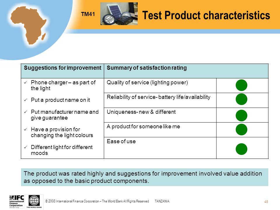© 2008 International Finance Corporation – The World Bank All Rights ReservedTANZANIA 48 Test Product characteristics Suggestions for improvementSumma
