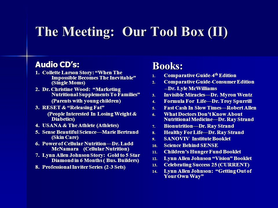 The Meeting: Our Tool Box (II) Audio CD's: 1.