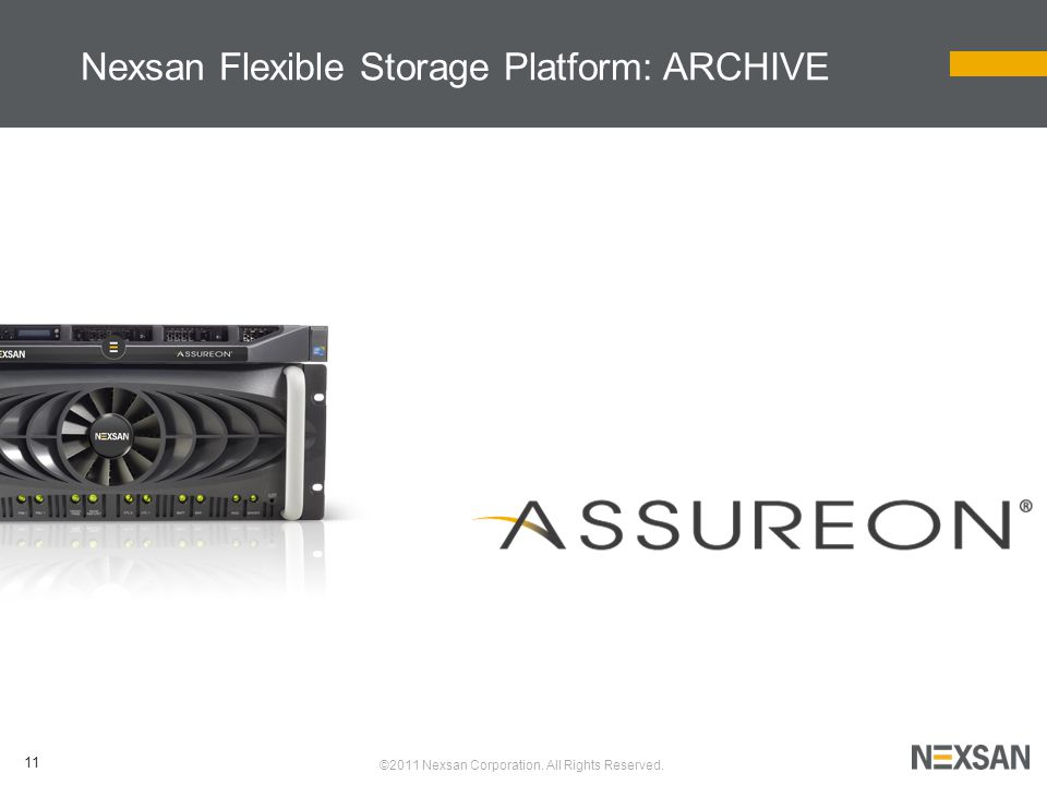 11 ©2011 Nexsan Corporation. All Rights Reserved. Nexsan Flexible Storage Platform: ARCHIVE